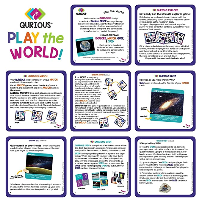 Amazon Qurious Space Stem Flash Card Game Explore Match