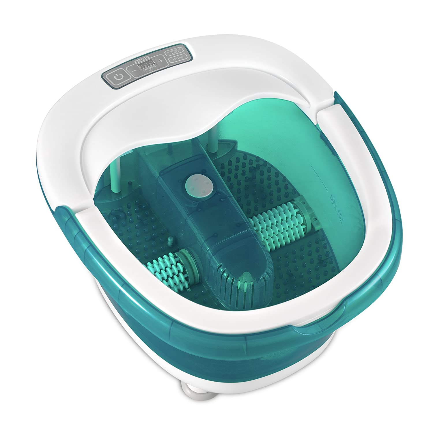 HoMedics, Deep Soak Duo Foot Spa with HeatBoost Power | Deep Rolling Wet/Dry Foot Massager | Dual Motorized Rollers, Waterfall Jets, Built-In Carry Handle, Acu-Node Surface & Optional Heat FB-650