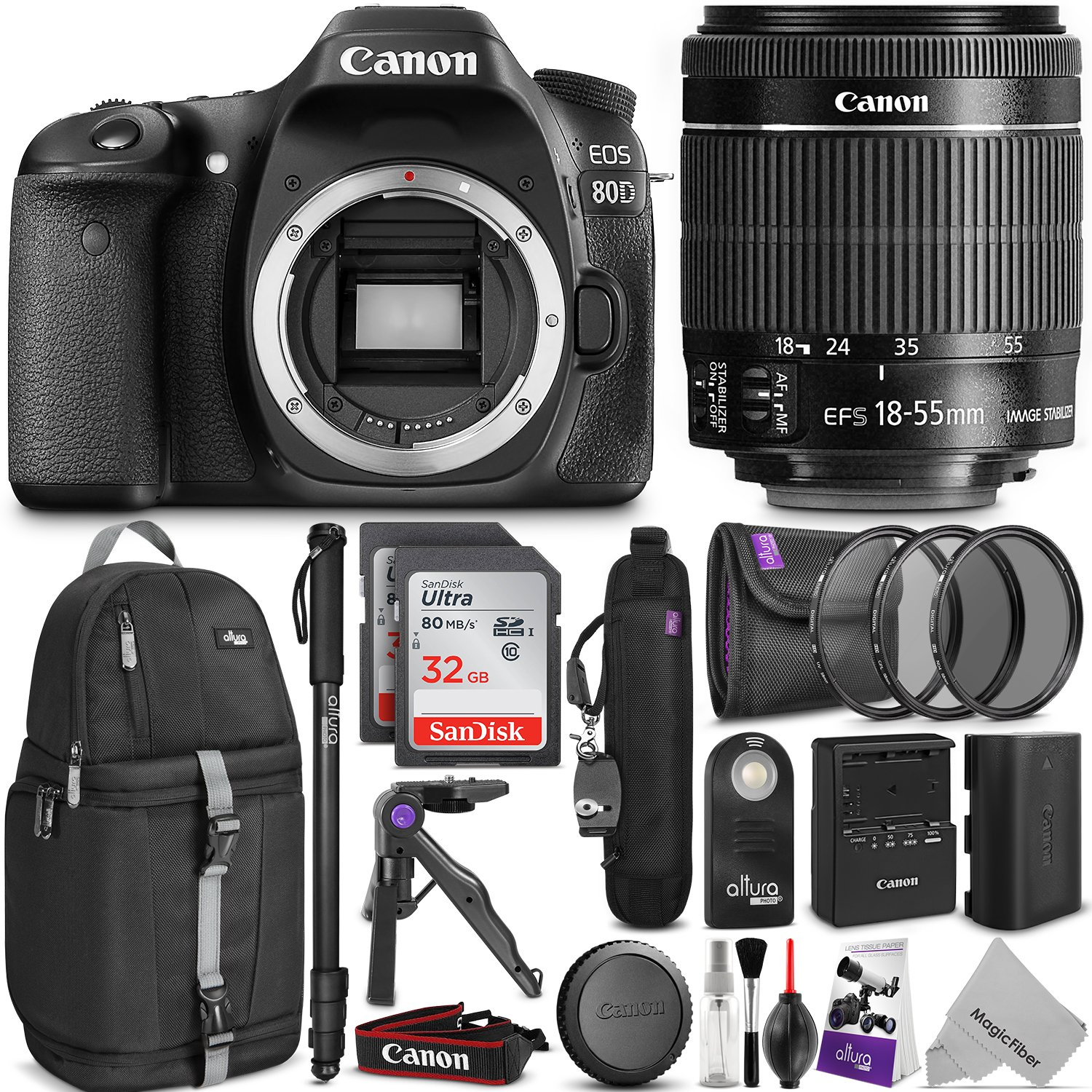 Canon EOS 80D DSLR Camera with EF-S 18-55mm f/3.5-5.6 IS STM Lens w/ Complete Photo and Travel Bundle