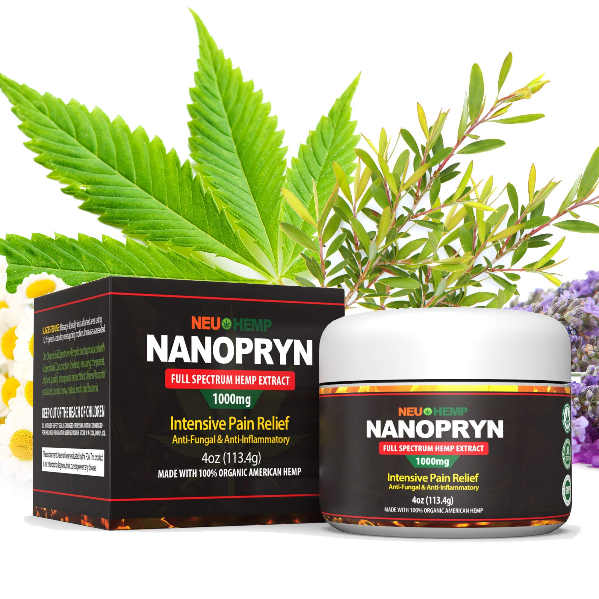 Organic Hemp Oil Soreness Relief: 1000mg Full Spectrum Extract Topical Reliever Arthritis Support Lower Back Knee Siatic Nerve Damage Ultra Muscle Relaxer Plus Pure Tea Tree Lavender Balm Numb Rub 4oz