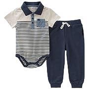 Calvin Klein Baby Boys 2 Pieces Creeper Pant Set, Oatmeal/Navy, 12M