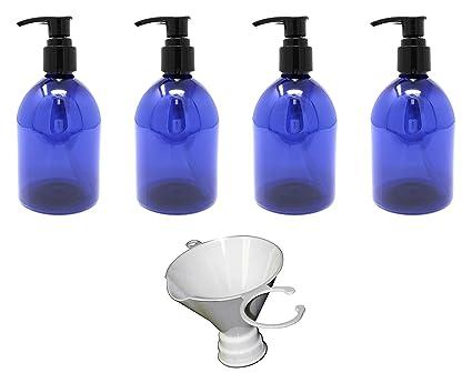 e85bb1d810d5 Earth's Essentials Cobalt Blue 10 Ounce Refillable Designer Pump Bottles.  (4 Pack with Funnel) Shatterproof PET Plastic. Excellent Liquid Hand Soap,  ...