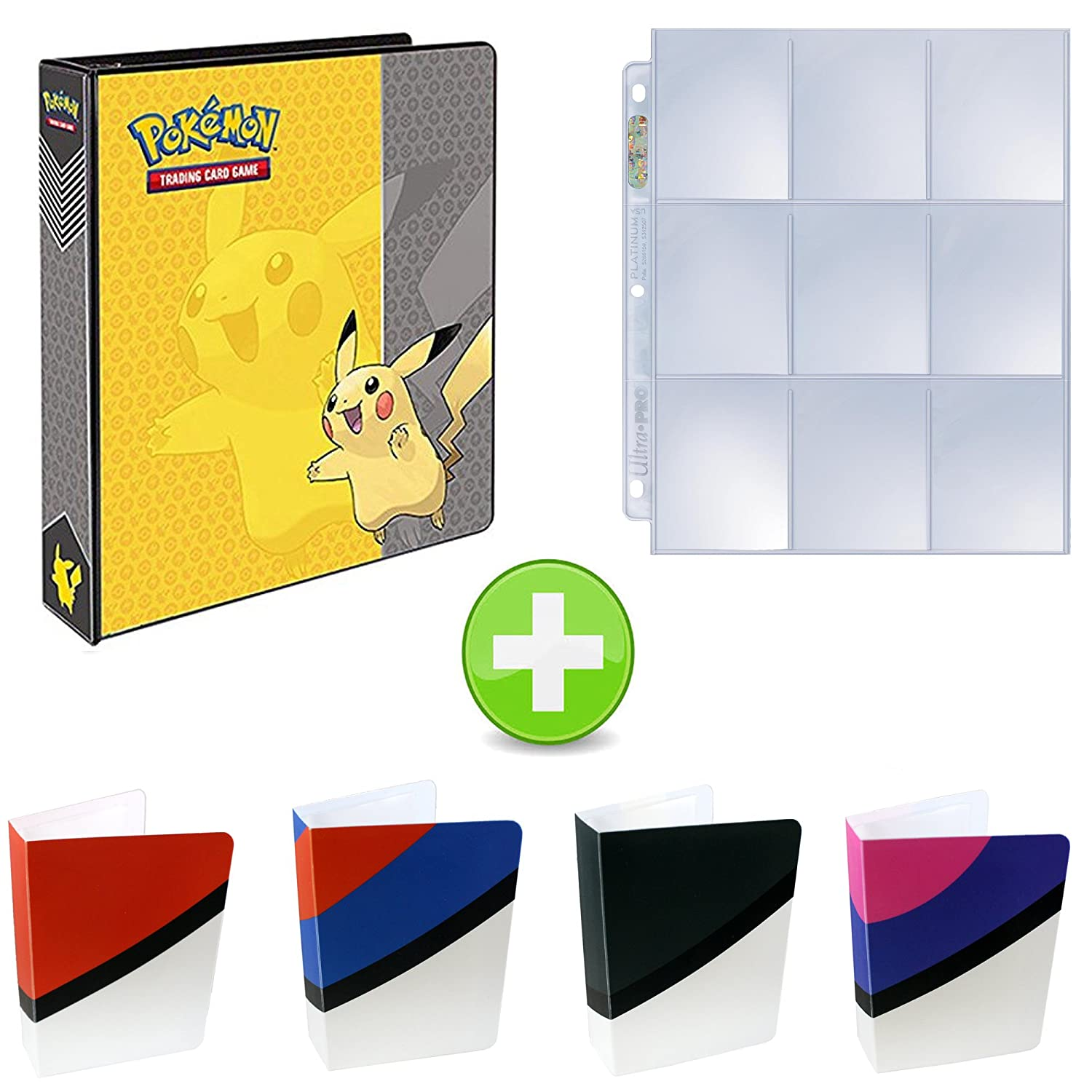 Assortmart Pokemon 3-Ring Binder with Mini Binder Album Set of 4 Poke Ball Great Ball Ultra Ball and Master Ball + 25 9-Pocket Pages