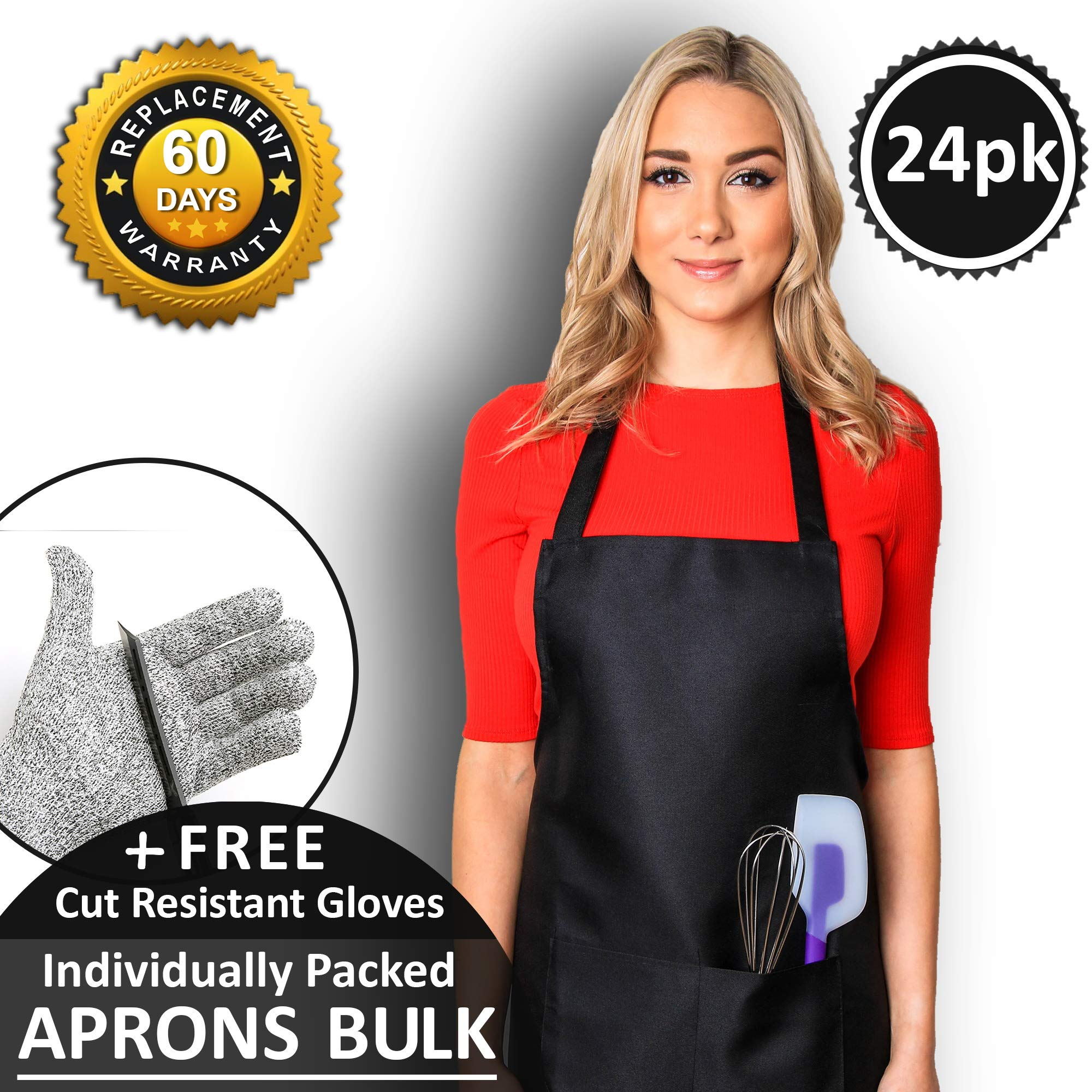 CHEFLUX [24pk] Premium Cooking Aprons Bulk for Women with 2 Pockets [Unisex] Kitchen Adult Aprons for Men [53g Lightweight] Black Bib Chef Apron [Double Stitch Hemmed Seams] BBQ Chefs Butcher Artist by ChefluxChoice.com