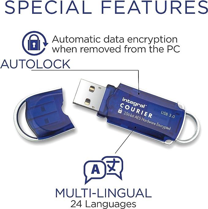 Integral Courier Usb Stick Usb3 0 8gb Mit 256 Bit Aes Computer Zubehör
