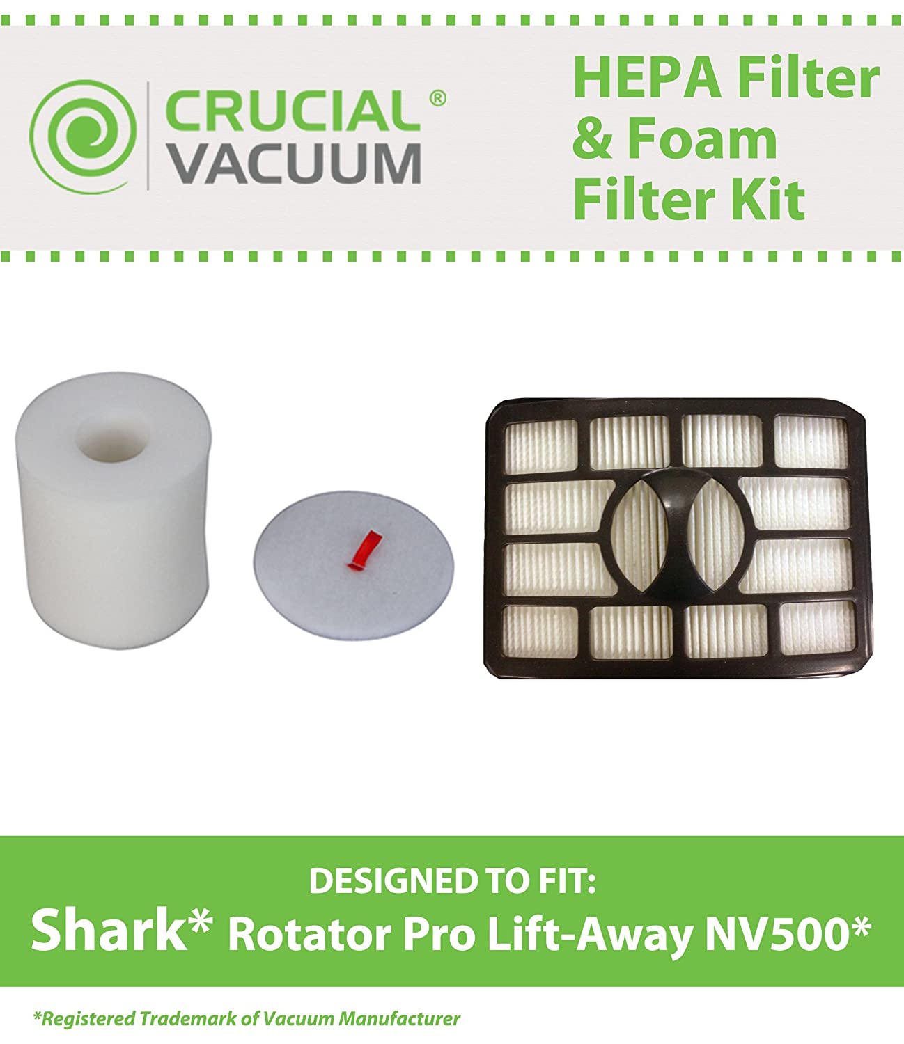 Replacement for Shark NV500 HEPA Style, Foam & Felt Filters Fit Rotator Pro NV500, Compatible With Part # XFF500 & XHF500, by Think Crucial