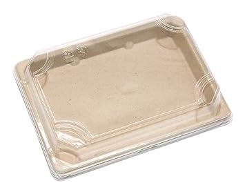 4 G - Bandejas de sushi rectangulares desechables biodegradables, respetuosas con el medio ambiente,