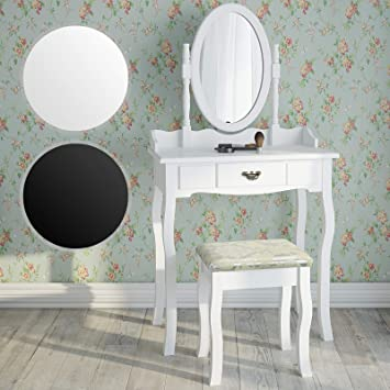 e120419cfc Dressing Table | with 1 Drawer, Adjustable Mirror, Stool, Baroque Style,  Black