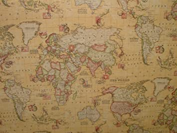 1m vintage atlas world map sand linen look curtain upholstery 1m vintage atlas world map sand linen look curtain upholstery fabric gumiabroncs Choice Image