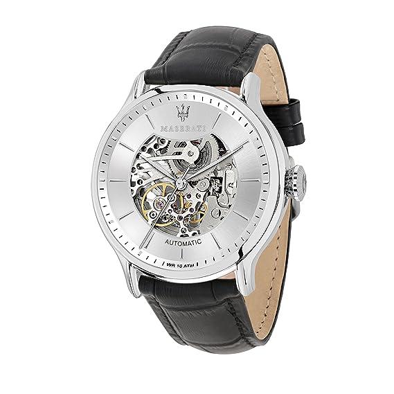 MASERATI Reloj Analógico para Hombre de Automático con Correa en Cuero R8821118003: Amazon.es: Relojes