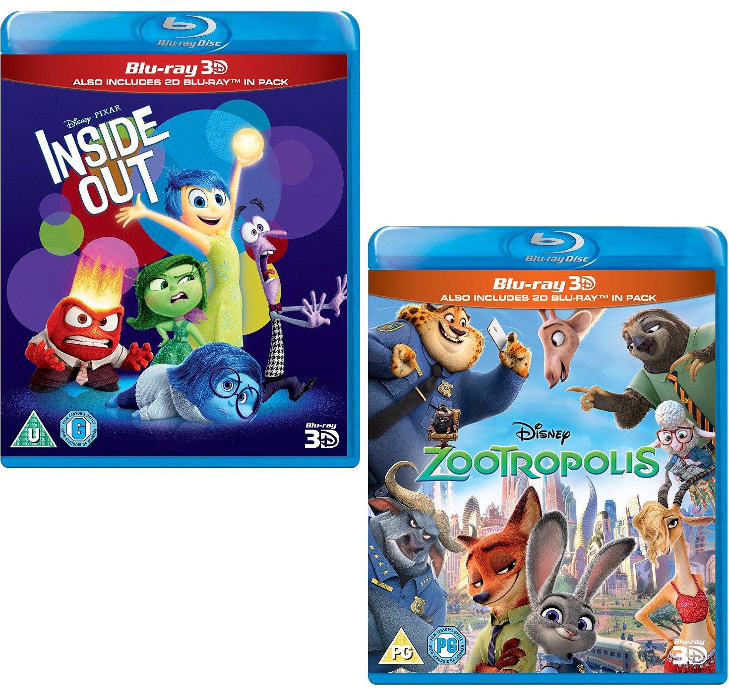 Inside Out 3D + 2D - Zootropolis 3D + 2D - Walt Disney 2 Movie ...
