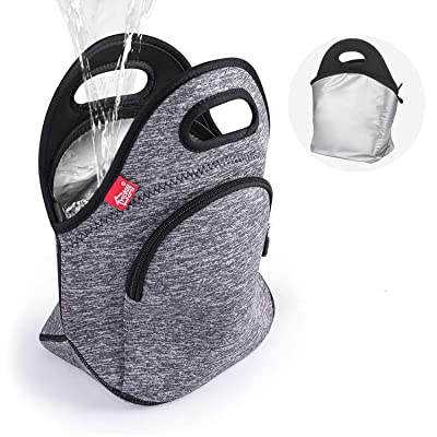 Waterproof Insulated Lunch Bag Grey Lunch Bags for Women and Men Reusable thermal Neoprene lunch cooler tote with Big Pockets: Kitchen & Dining