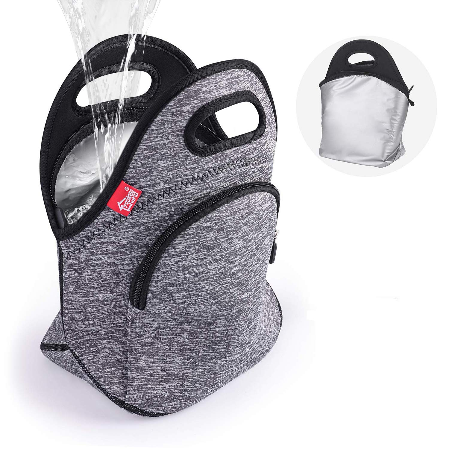 Waterproof Insulated Lunch Bag Grey Lunch Bags for Women and Men Reusable thermal Neoprene lunch cooler tote with Big Pockets by yookee home