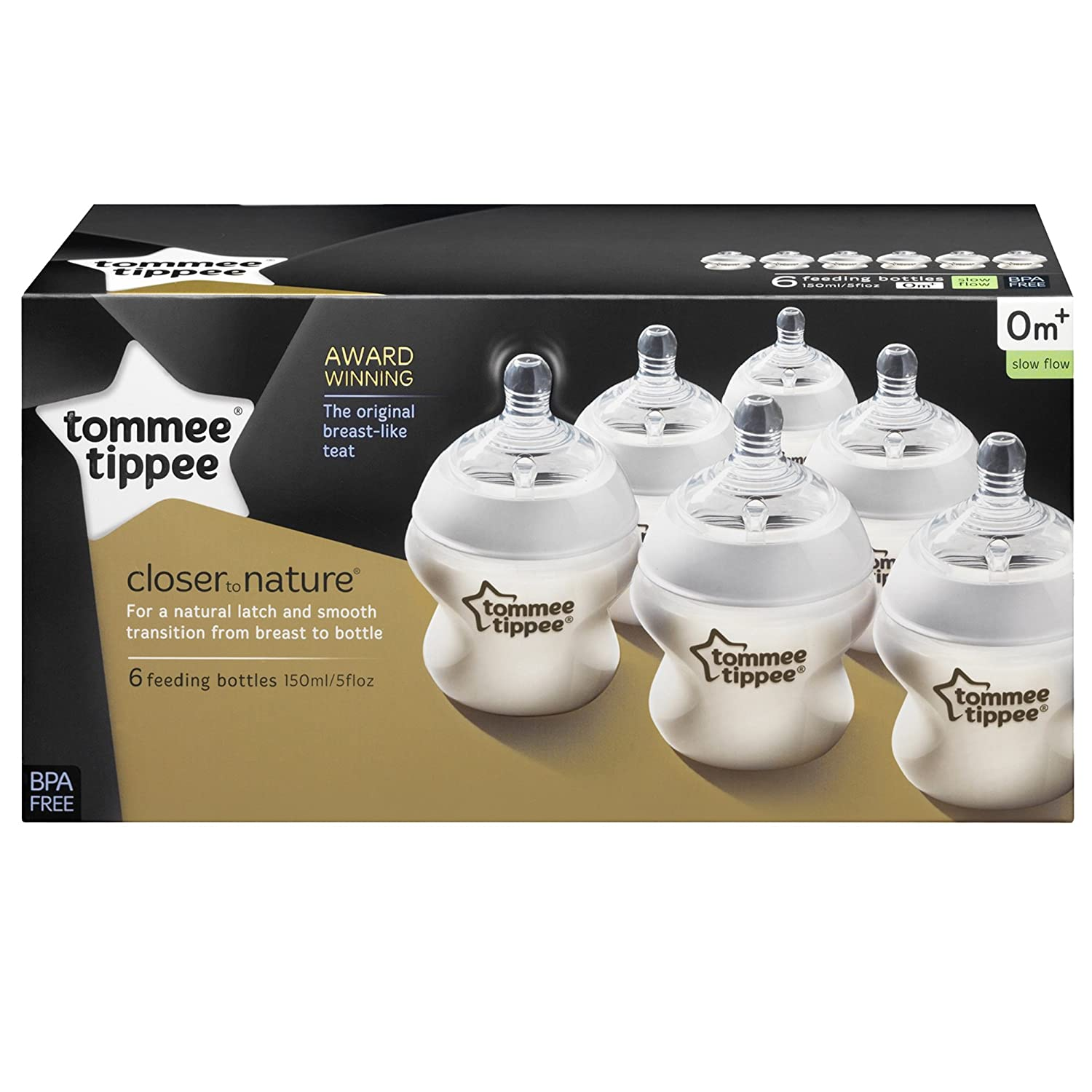 6-pack Tommee Tippee Closer to Nature 150 ml//5fl oz Feeding Bottles