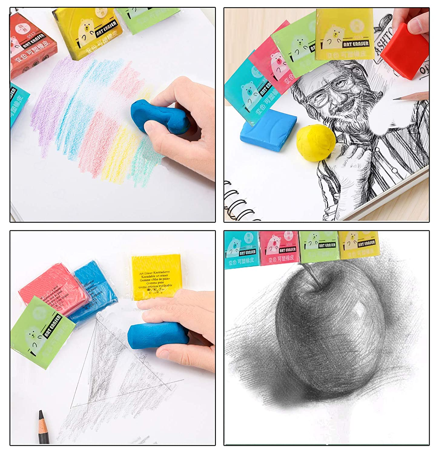 Erasers,Kneaded Rubber Eraser,Reusable and Non-Drying,12 Pack Large Size,Multiple Colour