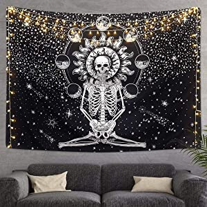 "Skull Tapestry Meditation Skeleton Wall Hanging Tapestry, Chakra Starry Tapestry-Black and White Stars, Mural for Bedroom, Living Room, Dorm, Home Decoration (51.2"" x 59.1"")"