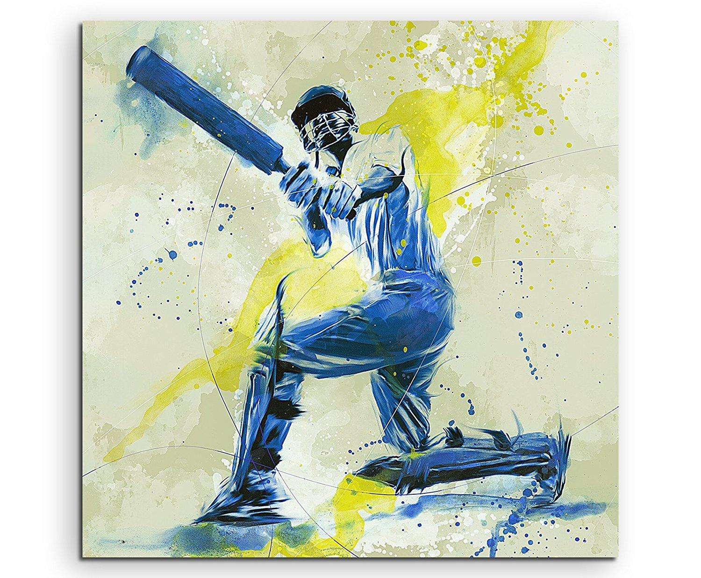 Cricket Sports Pictures Paul Sinus Art Splash Art Wall Watercolour Art 60x60cm