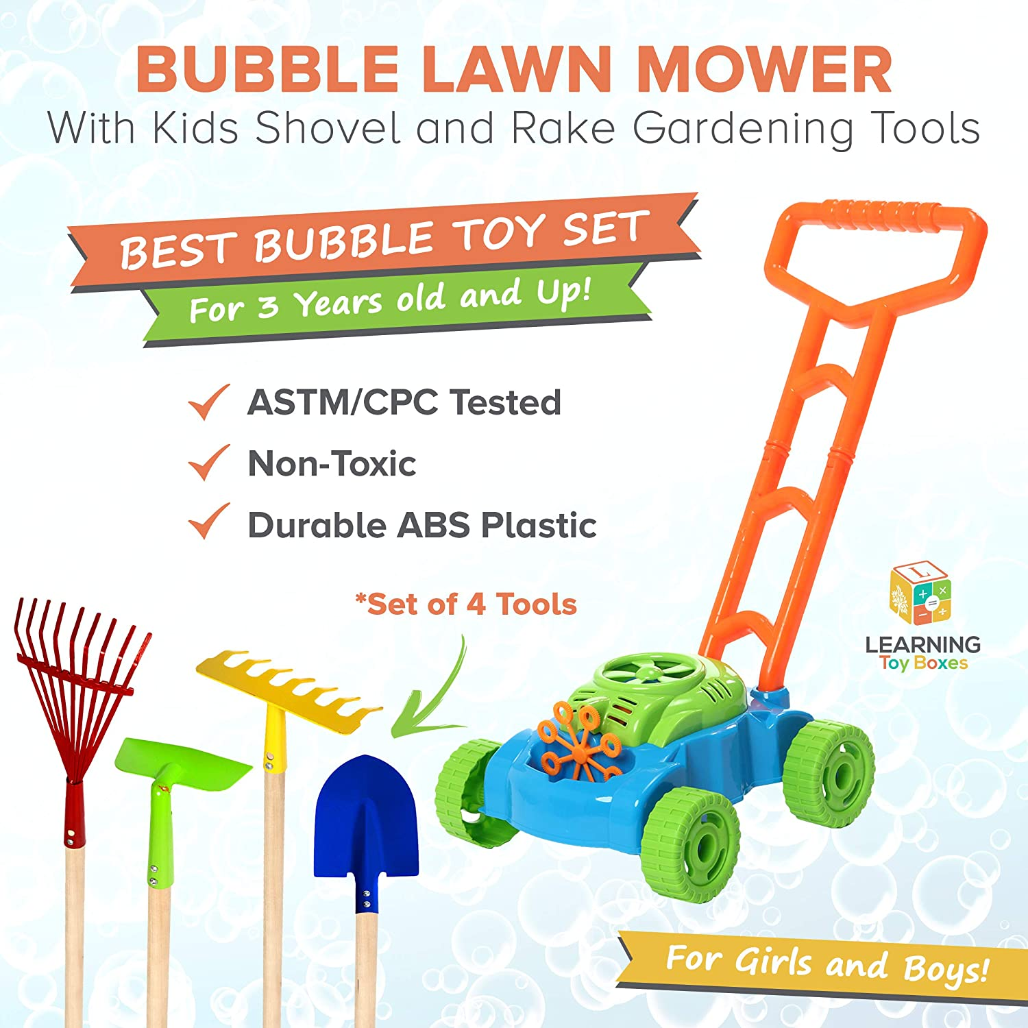 6 PCS Bubble Lawn Mower Bundle with Kids Shovel and Rake Gardening Tools Set Features Metal Kids Shovel with Wooden Handles /& Battery Operated Bubble Mower