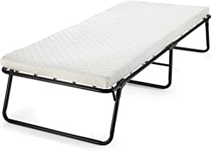 Rollaway Guest Folding Bed Cot - with Memory Foam Mattress Compact, Portable & Lightweight Folding Bed Frame with Thick Memory Foam Mattress for Spare Bedroom & Office (31 inch)