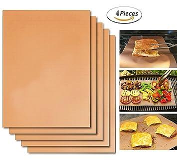 DINOWIN 4 Piezas Estera para Parrilla de Barbacoa BBQ, Reutilizable Láminas Antiadherentes Láminas Resistentes al