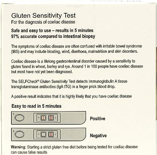 SELFCheck Gluten Sensitivity Test for Coeliac Disease: Amazon.co.uk: Health  & Personal Care