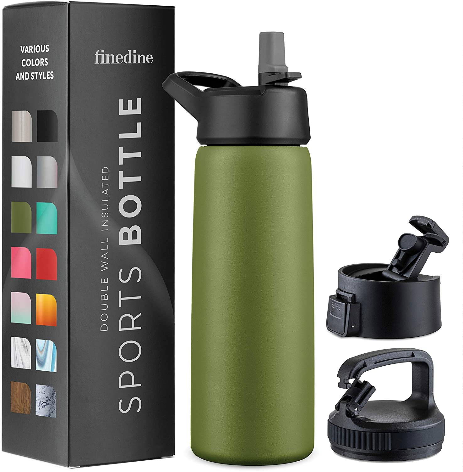 Triple Insulated Stainless Steel Water Bottle With Straw Lid Flip Top Lid Wide Mouth Cap 26 Oz Insulated Water Bottles Keeps Hot And Cold Great For Hiking Biking Army Green