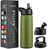 Triple Insulated Stainless Steel Water Bottle with Straw Lid - Flip Top Lid - Wide Mouth Cap (26 oz) Insulated Water Bottles,
