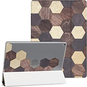Mertak Case Compatible with iPad Pro 11 2020 12.9 2019 2018 Air 3 2 10.2 8th 7th Gen Mini 5 4 10.5 inch 9.7 Wood Smart Cover Brown Tiles Mosaic Honeycomb Hexagon Clear Flip Abstract Auto Wake Sleep