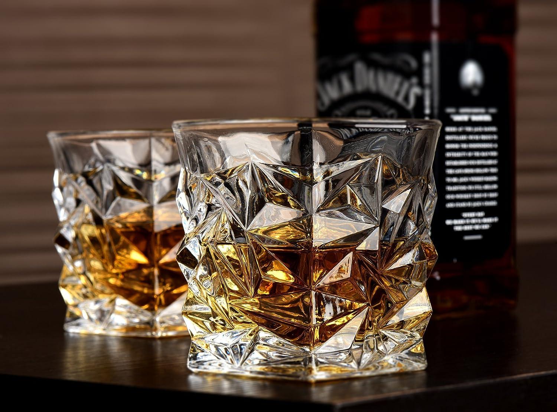 Set of 4 Glassware Gift Set by Vaci Diamond Whiskey Glasses Ultra Clarity Crystal Scotch Glass 4 Drink Coasters Malt or Bourbon