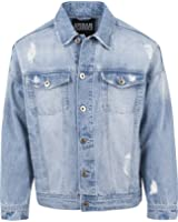 Urban Classics Herren und Jungen Jeansjacke Ripped Denim Jacket, Oversize destroyed Look Jacke