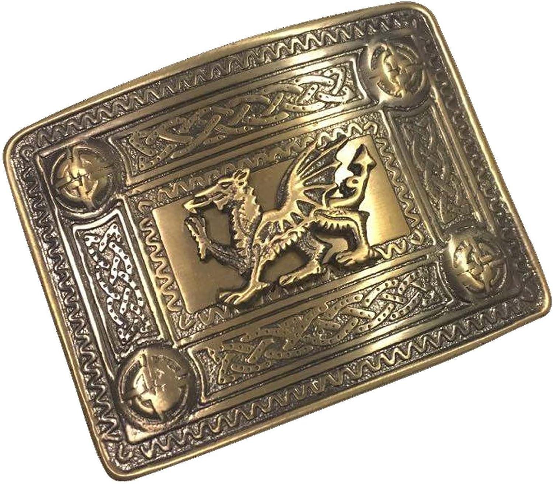 Tartan City Scottish Kilt Belt Buckle Welsh Dragon Antique Finish//Celtic Kilt Belt Buckle 4 Dome Mirror Design