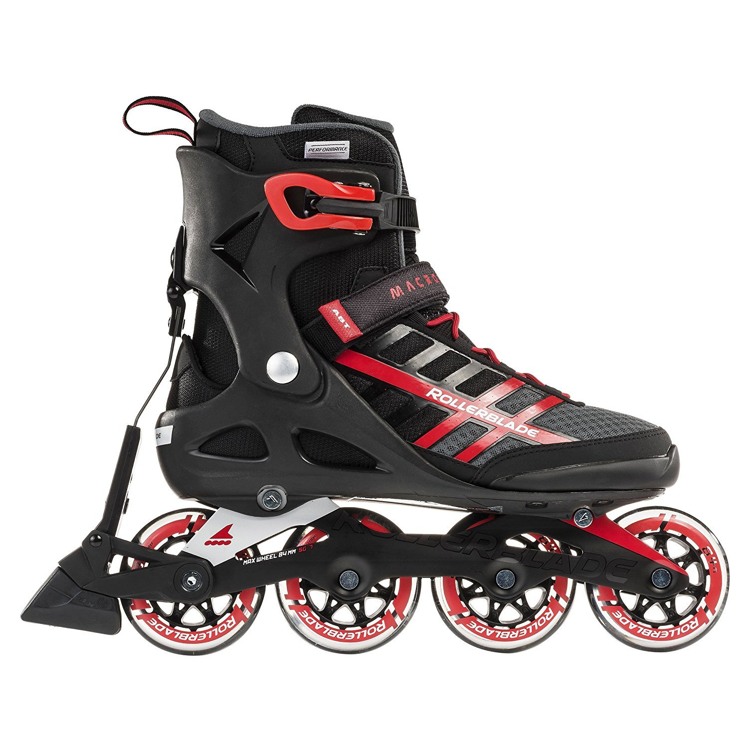 Rollerblade Macroblade 84 ABT New SG7 Bearings Aluminum Frame Inline Skates, Black/Red, US Men's 11 by Rollerblade