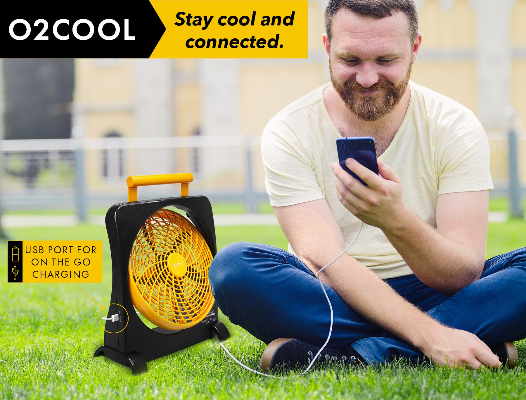 """O2COOL 10"""" Battery Operated Fan - Portable Smart Power Fan with AC Adapter & USB Charging Port for Emergencies, Camping & Travel Use (Orange) by O2COOL (Image #6)"""