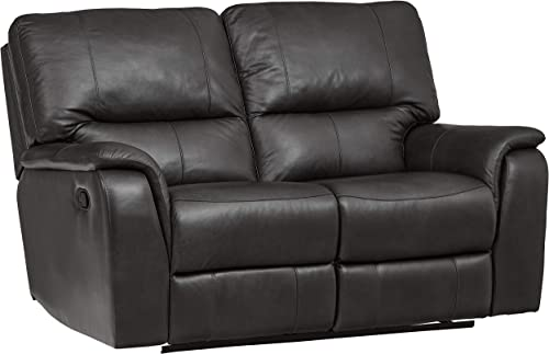 Ravenna Home Saxon Loveseat Recliner Sofa – 40 Inch, Black Leather