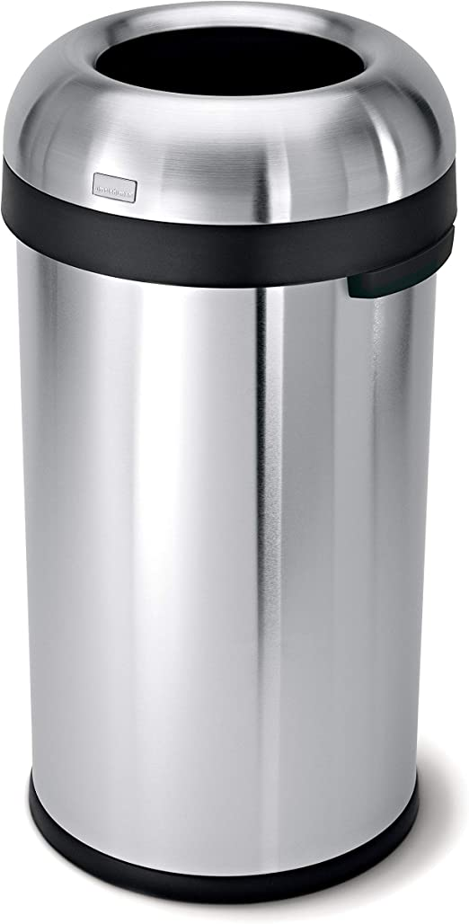 Commercial Grade 60 L // 16 Gal CW1407 simplehuman Bullet Open Top Trash Can Heavy Gauge Stainless Steel