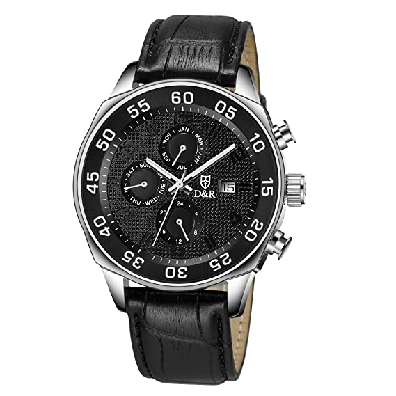 98b9ad65096 Derieter Sports Men Multifunction Watch Swiss ISA Movement Wristwatch Stainless  Steel Wrist Watch Waterproof Genuine Leather Strap Week Month Date and 24  ...