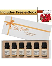 Essential Oils Set of 6 x 10ml – Highest Quality 100% Pure Natural Aromatherapy Set - Lavender, Peppermint, Tea Tree, Eucalyptus, Lemon, Geranium - Perfect Gift or Beginner Kit - Includes Free e-Book