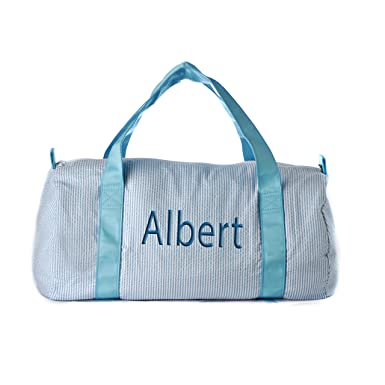 3333a9b467e4 Personalized Large Travel duffel bag (Blue Seersucker)