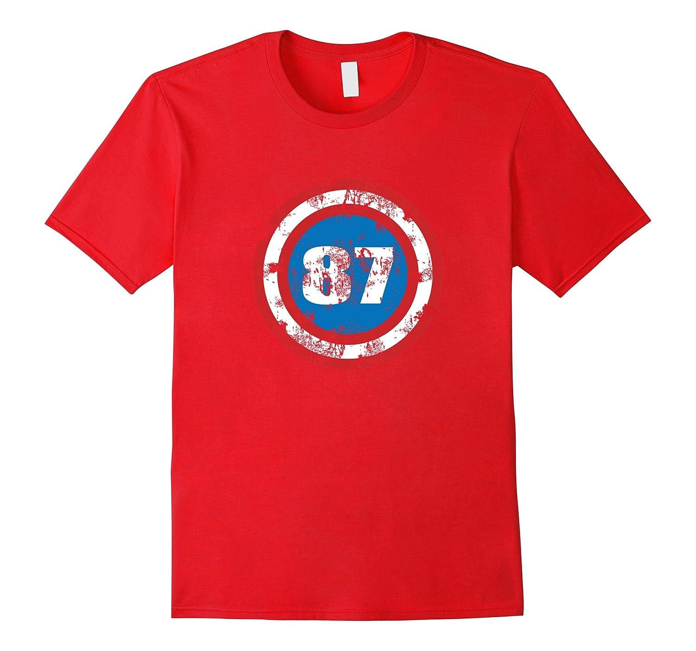 30th Birthday, Distressed Look, 87 Superhero Shield T-shirt-TH