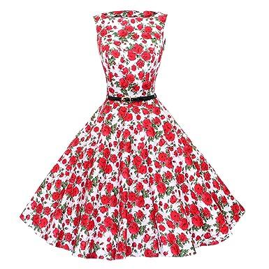 Maggie Tang 50er Retro Schwingen Pinup Rockabilly Kleid Gr.M Farbe Rote Rose