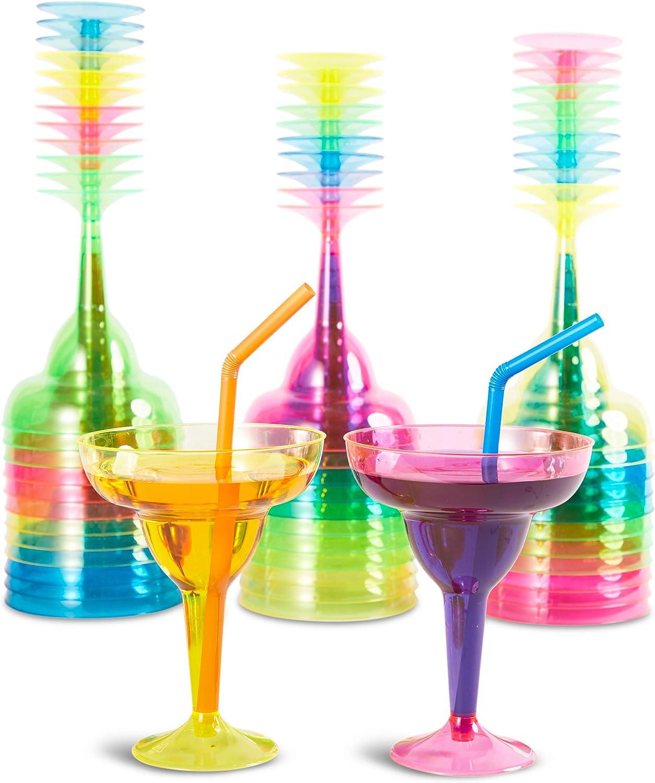 36 unidades Vasos de pl/ástico para margarita 12 oz 4 colores ne/ón surtidos