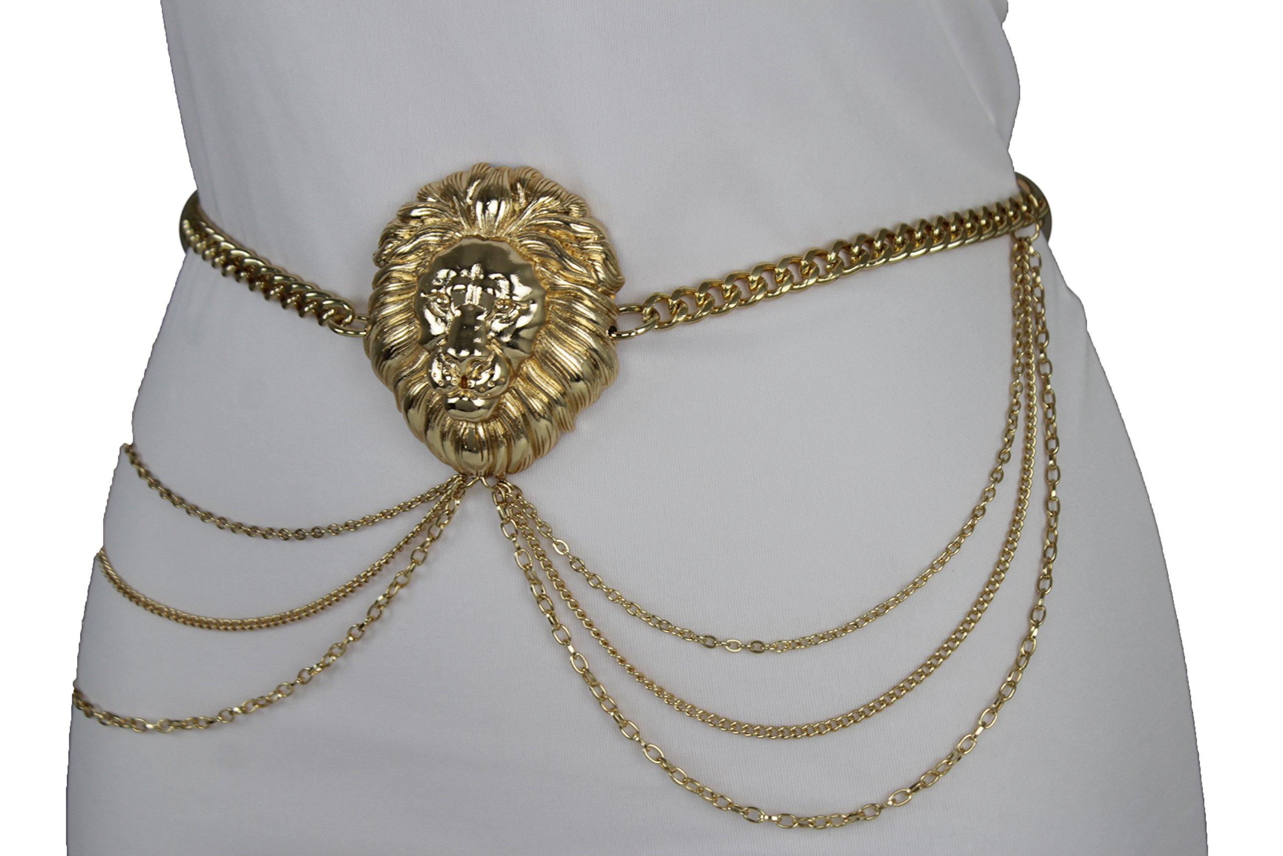 TFJ Women Fashion Belt Hip High Waist Gold Metal Chains Lion Buckle Charm Sexy (Medium - XL 30''-45'')