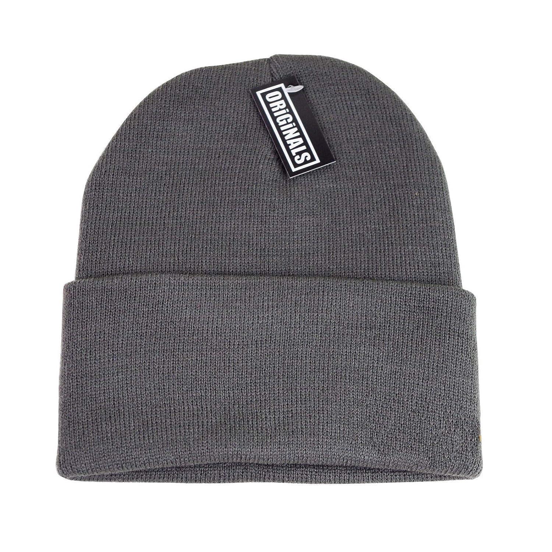 f8585441379 Generic Beanie Plain Knit Ski Hat Skull Cap Cuff Warm Winter Blank Colors Unisex  Beany (Black) at Amazon Men s Clothing store