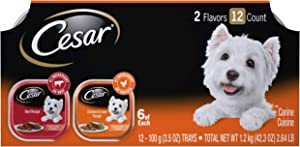 CESAR Soft Wet Dog Food Loaf in Sauce Beef and Chicken & Liver Recipes Variety Pack (24) 3.5 oz. Easy Peel Trays