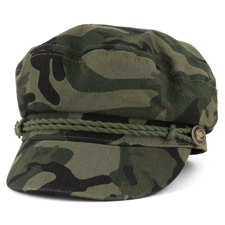 Trendy Apparel Shop Cotton Herringbone Texture Newsboy Greek Fisherman Hat