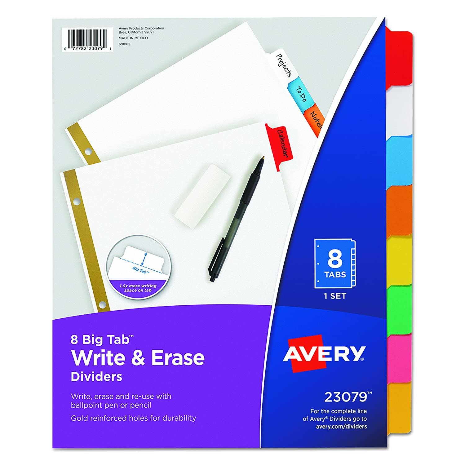 amazoncom avery big tab write erase dividers 5 tab set multicolor multi pack of 6 sets 23076 office products