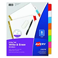 Avery 8-Tab Binder Dividers, Write & Erase Multicolor Big Tabs, 3 Sets (23079)