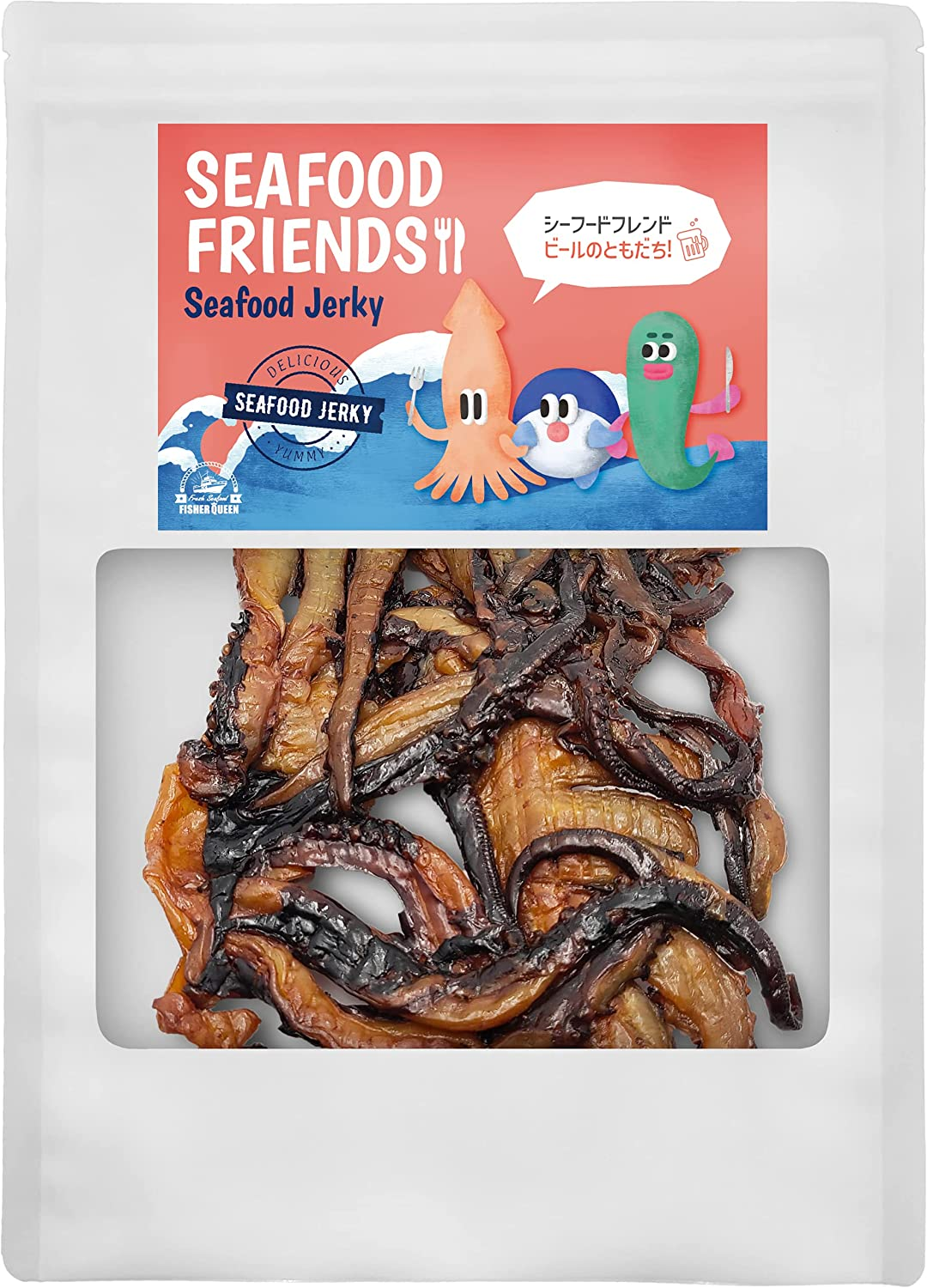 (6oz)Fisher Queen Seafood Jerky - Sweet & Salty Squid Perfect for Snack(Korean Squid Snack)