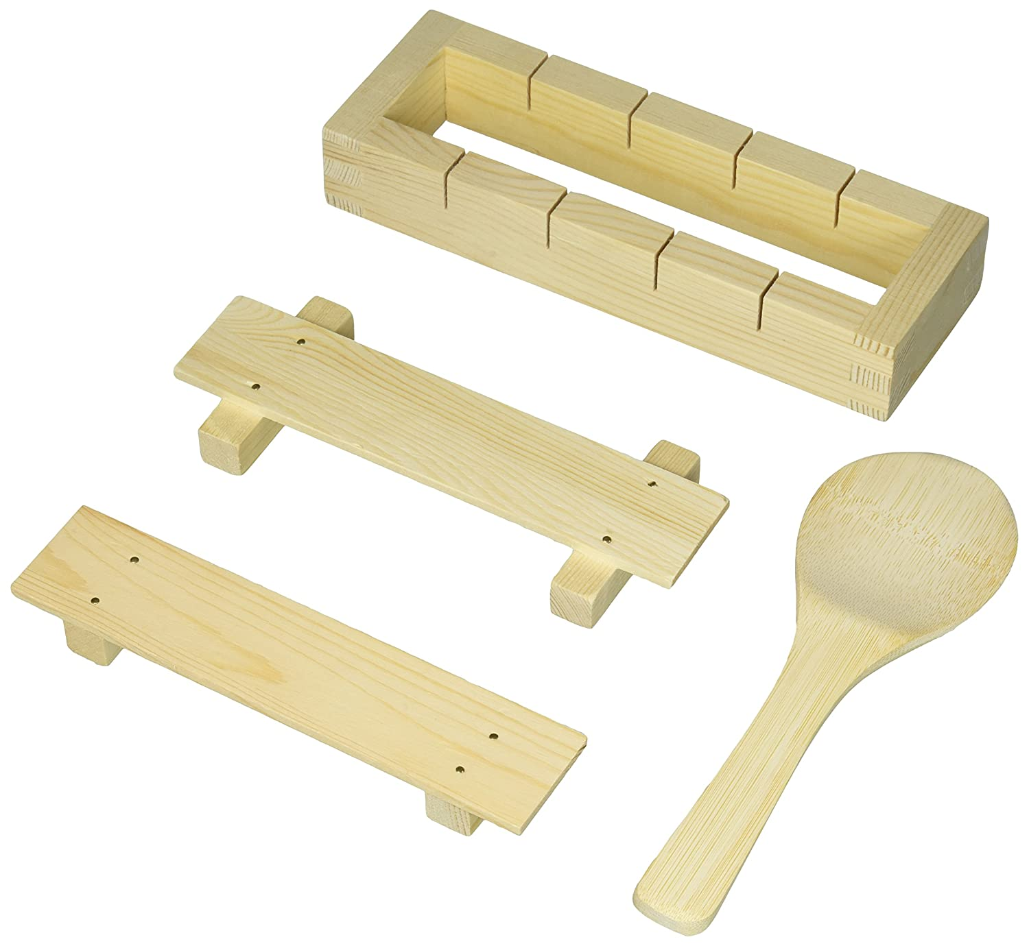 Happy Sales HSCOMS-12 Bamboo Sushi Rice Mold & Paddle Set 1 pc + 1 pc
