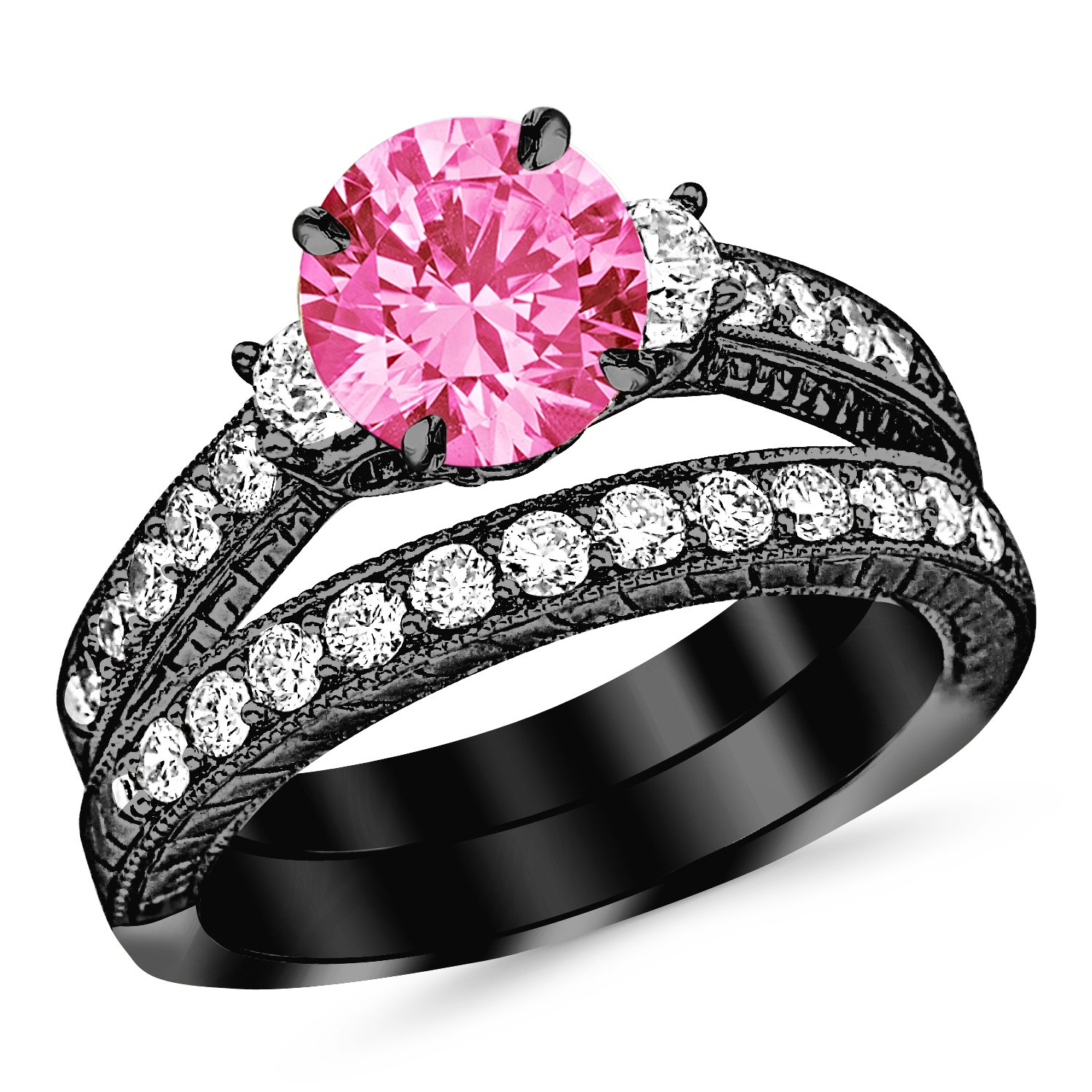 1.78 Carat 14K Black Gold Three Stone Vintage With Milgrain & Filigree Bridal Set with Wedding Band & Diamond Engagement Ring with a 0.75 Carat Natural Pink Sapphire Center (Heirloom Quality)